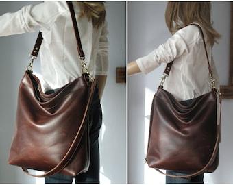 8089b17ac2 Brown leather hobo bag