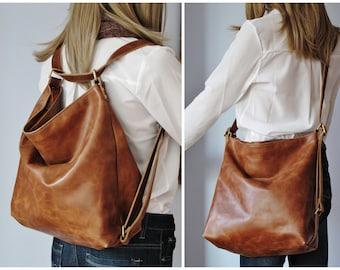 8e5157eef Tan convertible leather backpack, shoulder bag, crossbody purse, diaper bag,  hobo bag