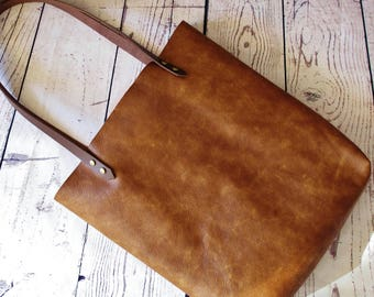 Caramel leather shopper, leather tote bag, shoulder bag, leather bag, leather purse,