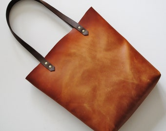 1fbf2904c0aa6a Tan leather tote bag, distressed vintage look purse, cognac shopper