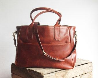 Large leather tote bag, laptop bag, large shoulder bag