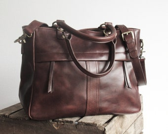 Brown leather handbag, leather purse, top handle bag with crossbody strap
