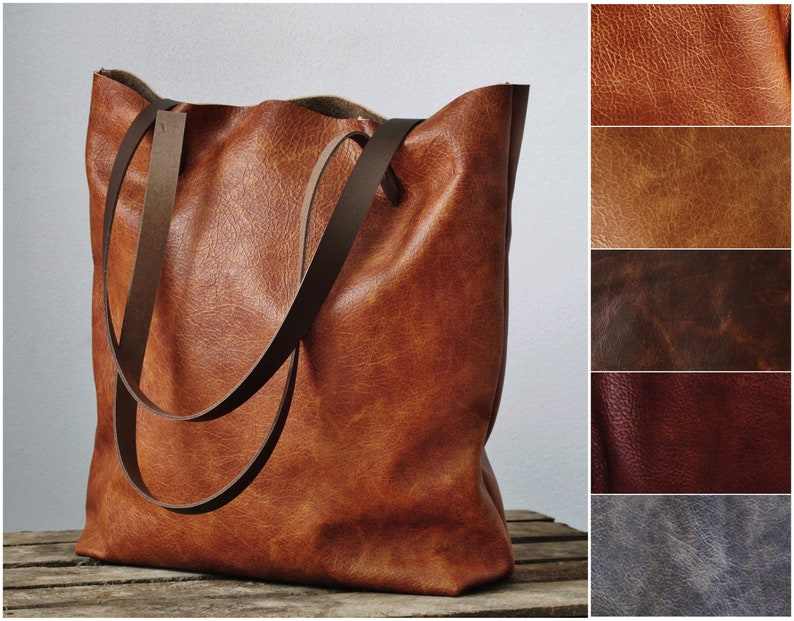 Cognac leather tote bag shopper soft genuine leather bag image 0
