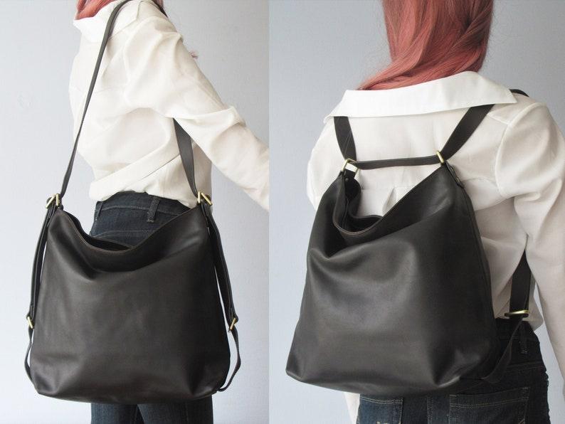 Convertible backpack leather shoulder bag black bag image 1