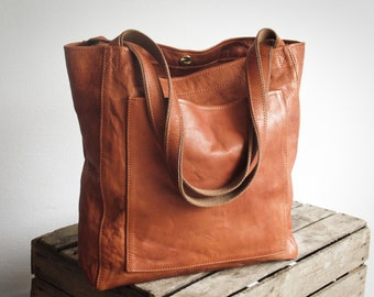 Cognac leather tote bag shopper, soft genuine leather bag