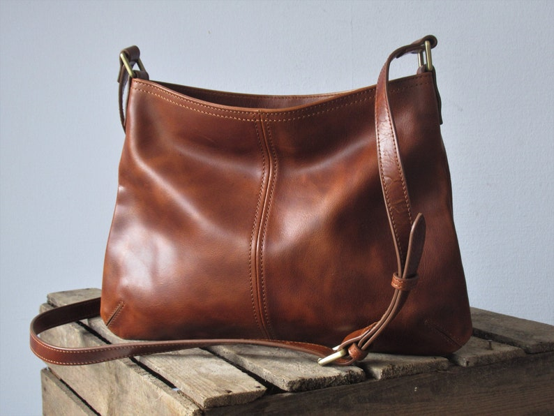 Brown leather crossbody bag purse with zipper small shoulder image 0