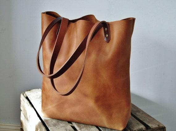 Cognac leather bag distressed tote bag tan purse vintage  defc70742fd03