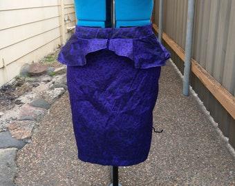 Purple leopard print peplum pencil skirt high waist size 12