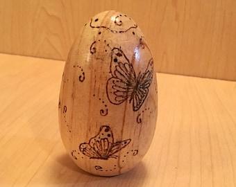 Wooden Wood burned Easter Egg, Wooden Butterfly Easter Egg, Decorative Easter Egg, Wood Easter Decoration, Easter Egg Decor