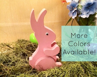 Pink Easter Bunny - Wooden Easter Bunny - Easter Bunny Decor - Easter Decor - Spring Decor - Handmade Easter Decor