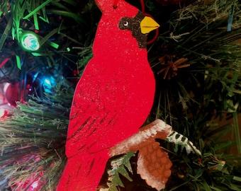 Cardinal Ornament - Cardinal Christmas Ornament - Wooden Cardinal