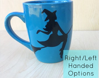 Witch Mug - Witch on Broom Mug - Halloween Witch mug - Flying Witch Mug - Witch on Broom