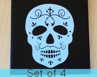 Halloween Skull Coaster - Halloween Day of the Dead Skull Coaster - Day of the Dead Skull Coaster - Skull Coaster