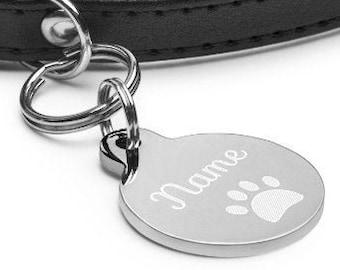 Cursive Pet ID Tag, Cat ID Tag, Dog ID Tag, Cat Name Tag, Dog Name Tag, Round Pet Name Tag, Engraved Pet Name Tag, Double Sided Pet Name Tag