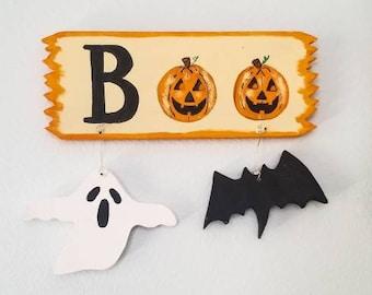 Halloween Boo Sign, Halloween Ghost and Bat Sign, Small Halloween Sign, Halloween Bat Sign, Halloween Ghost Sign, Wooden Halloween Sign