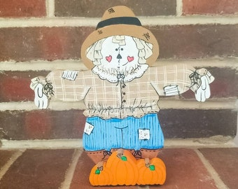 Wooden Scarecrow Decoration, Fall Scarecrow Decoration, Primitive Scarecrow Decoration, Scarecrow Centerpiece, Fall Pumpkin Centerpiece