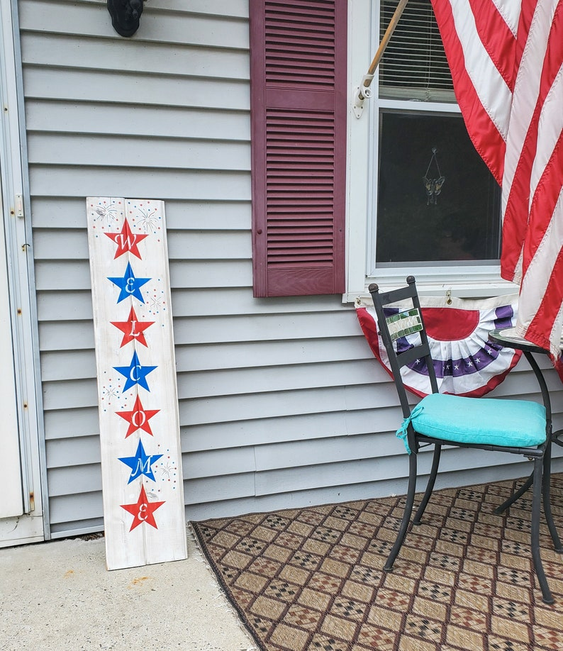 Patriotic Porch Welcome Sign Red White and Blue Porch Sign image 0