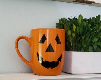 Pumpkin Mug, Orange Pumpkin Face Mug, Halloween Mug, Smiling Pumpking Mug, Cute Halloween Mug, Orange Pumpkin Face Mug