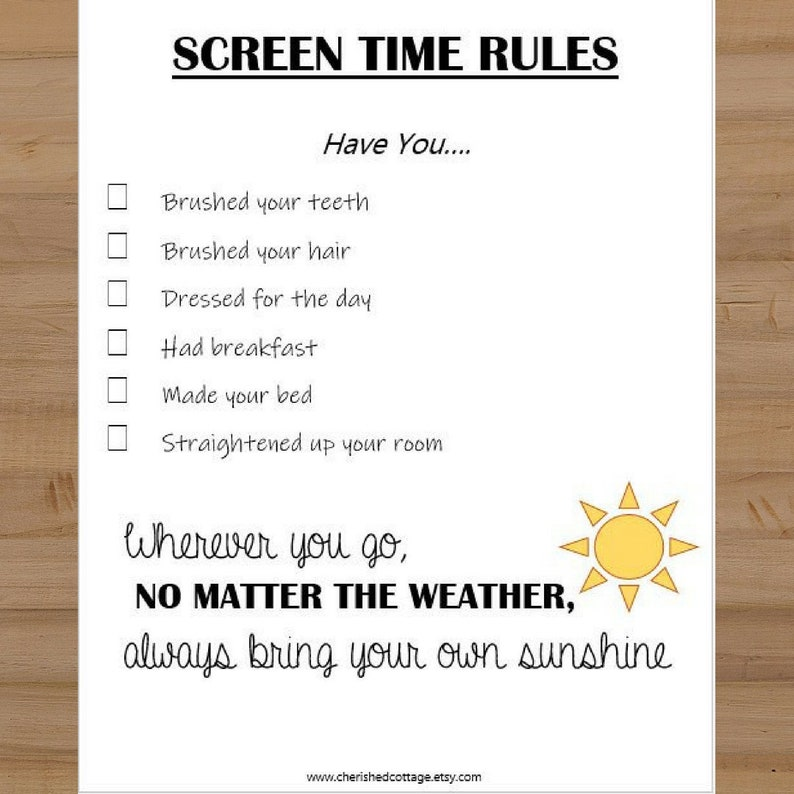 picture relating to Screen Time Rules Printable titled Printable Show Season Recommendations Sheet for Children - Early morning Television set Tips - Exhibit Period Guidelines - Television set Year Pointers for Small children - Pill Laws for Children -
