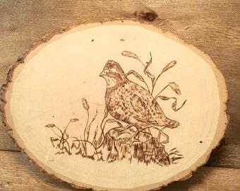 Quail Wood Burned Wall Hanging - Quail Wood burned Picture - Quail Hunter Gift - Bird Lover Gift - Wood hurned Quail