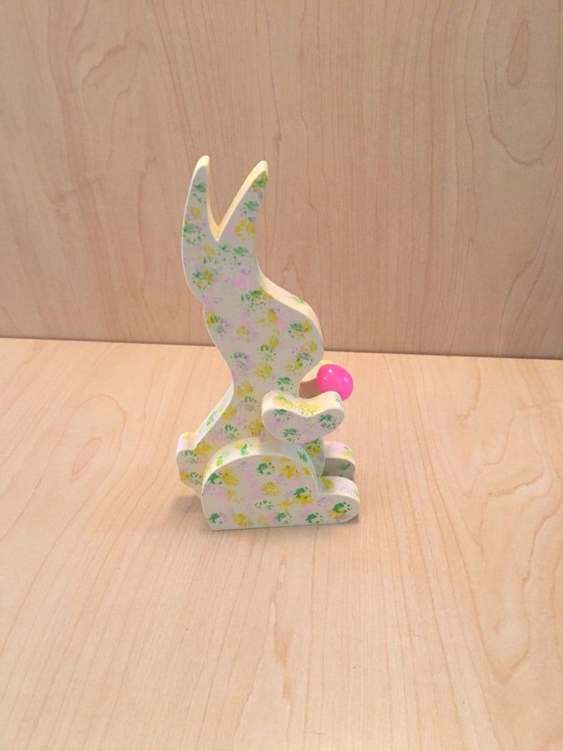 Polka Dot Easter Bunny  Speckled Easter Bunny  Wooden Easter image 0
