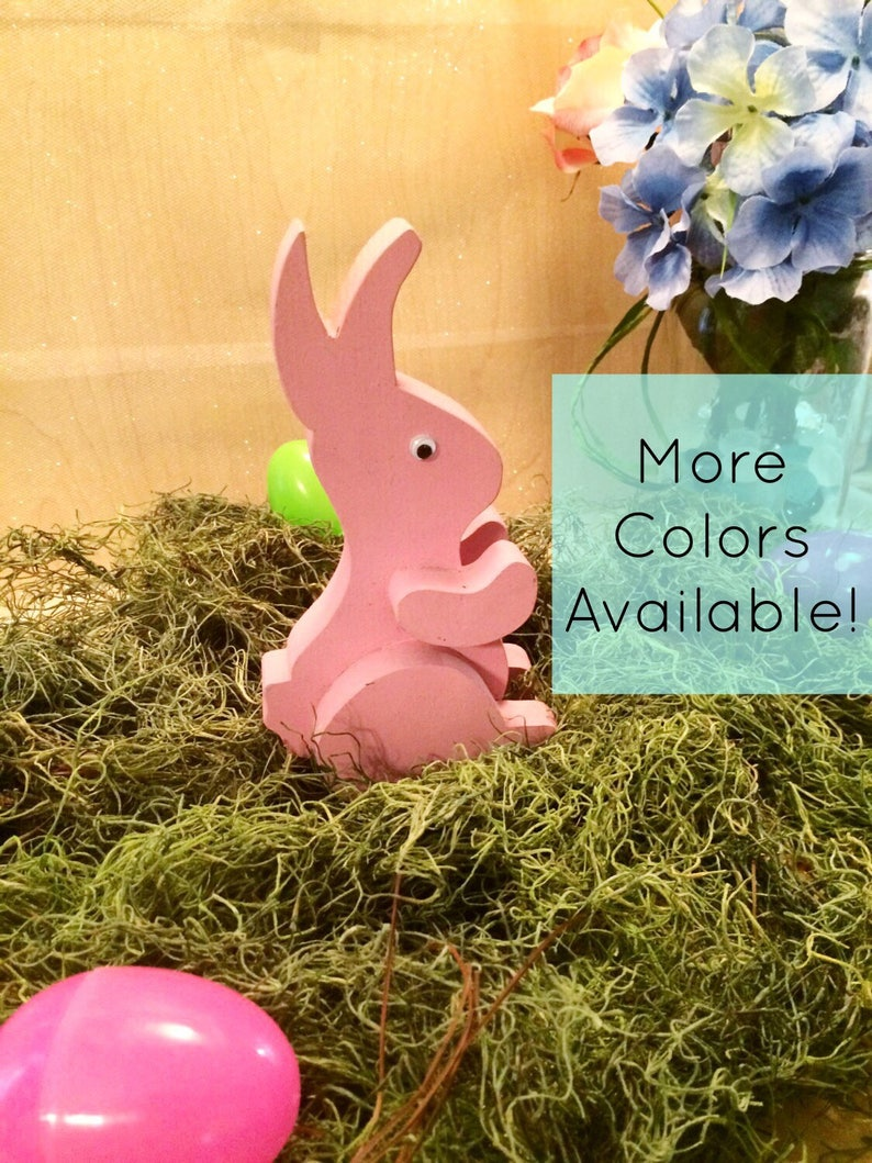 Pastel Wooden Easter Bunny Decor Pink Easter Bunny Wooden image 0