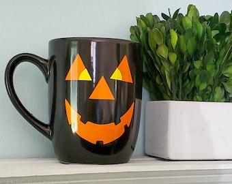 Black Pumpkin Mug, Black Pumpkin Face Mug, Halloween Mug, Smiling Pumpking Mug, Cute Halloween Mug, Orange Pumpkin Face Mug