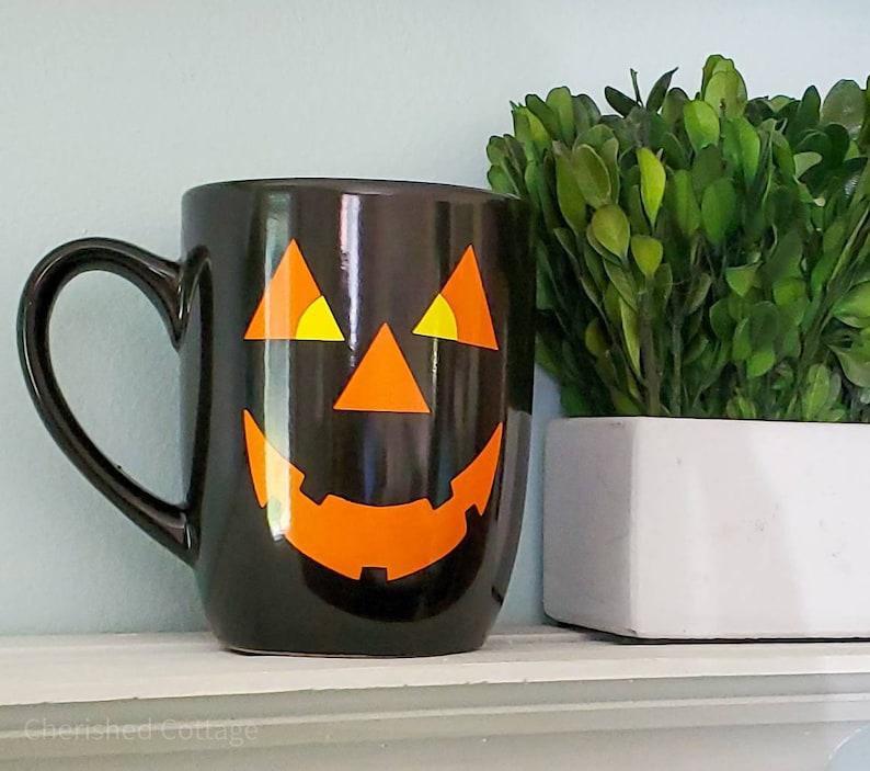 Black Pumpkin Mug Black Pumpkin Face Mug Halloween Mug image 0