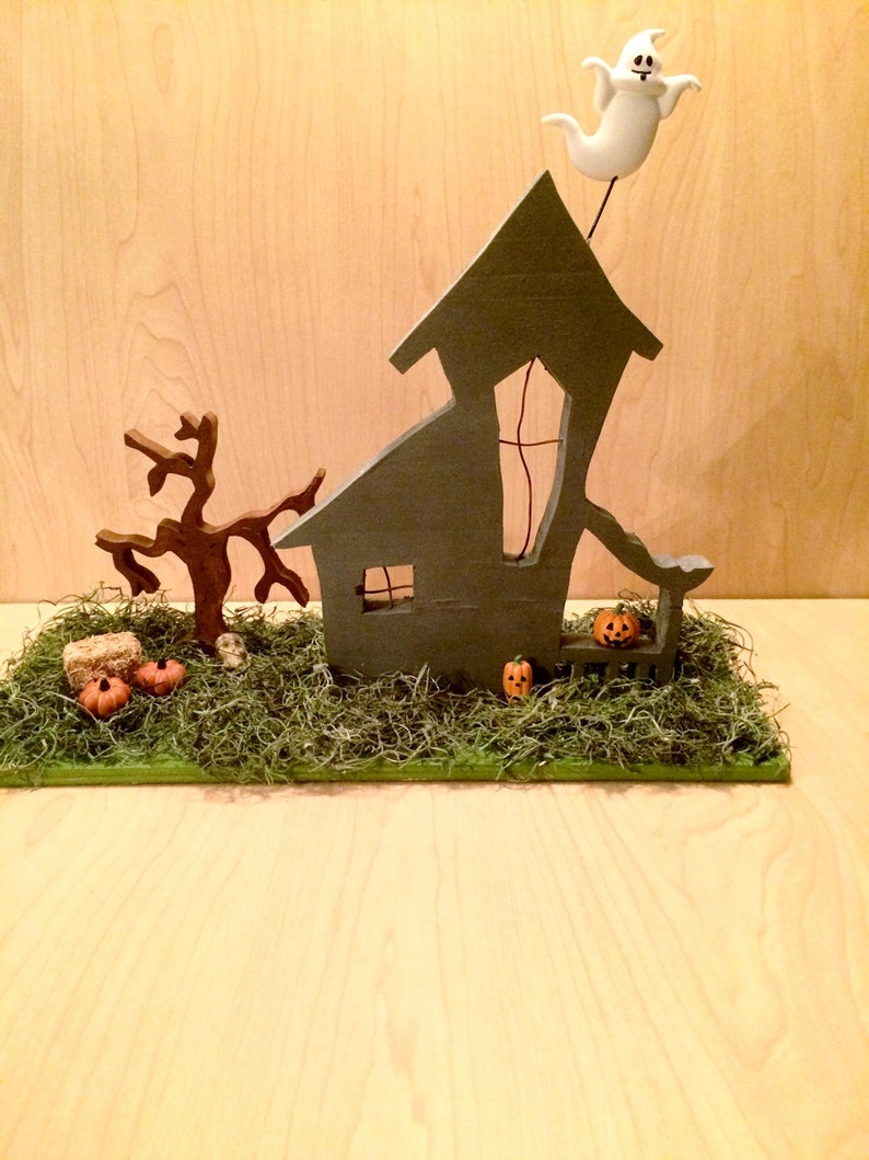 Hand Painted Wood Haunted House Decor Wooden Haunted House image 0
