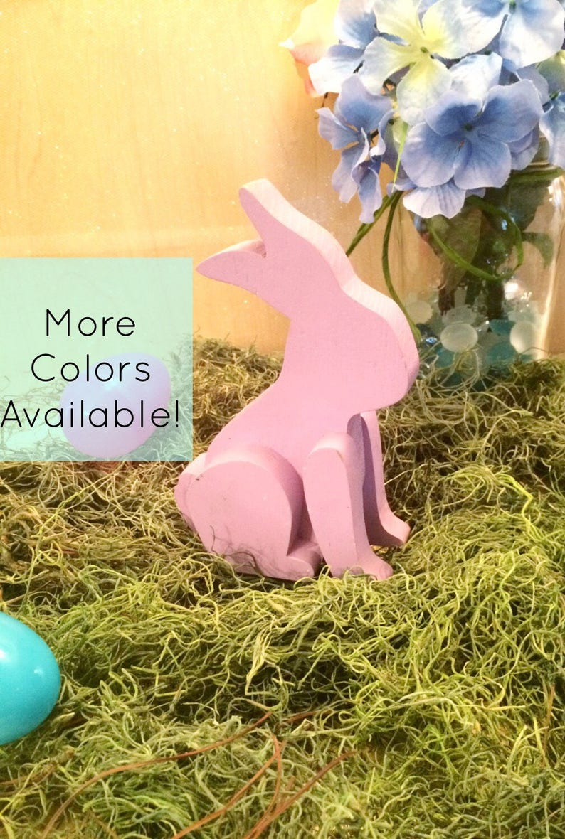 Wooden Sitting Easter Bunny Decor Pastel Wooden Easter Bunny image 0