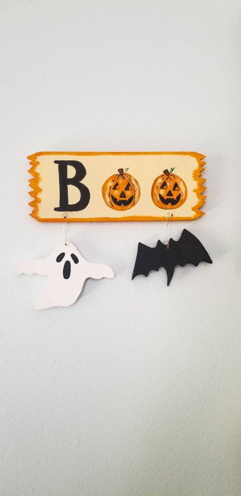 Halloween Boo Sign Halloween Ghost and Bat Sign Small image 0