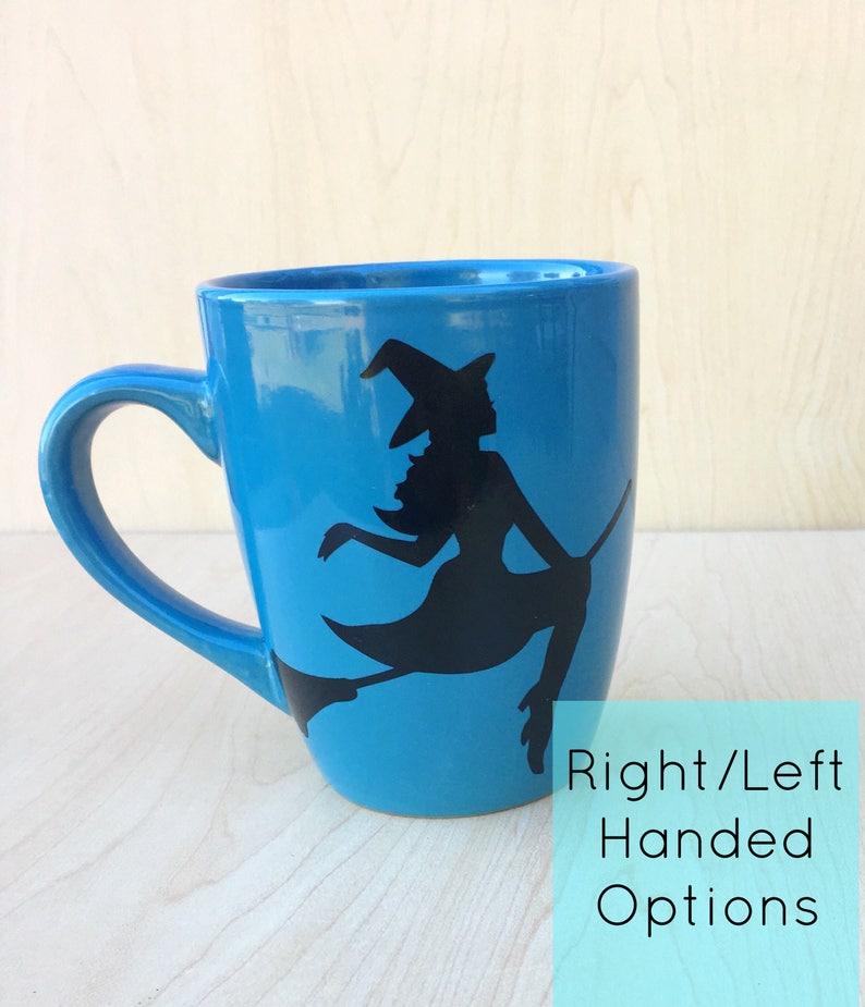 Witch Mug  Witch on Broom Mug  Halloween Witch mug  Flying image 0