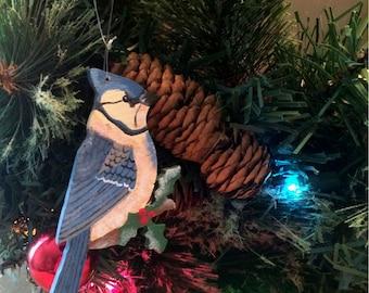 Blue Jay Ornament, Wood Blue Jay Christmas Ornament, Handpainted Blue Jay Ornament