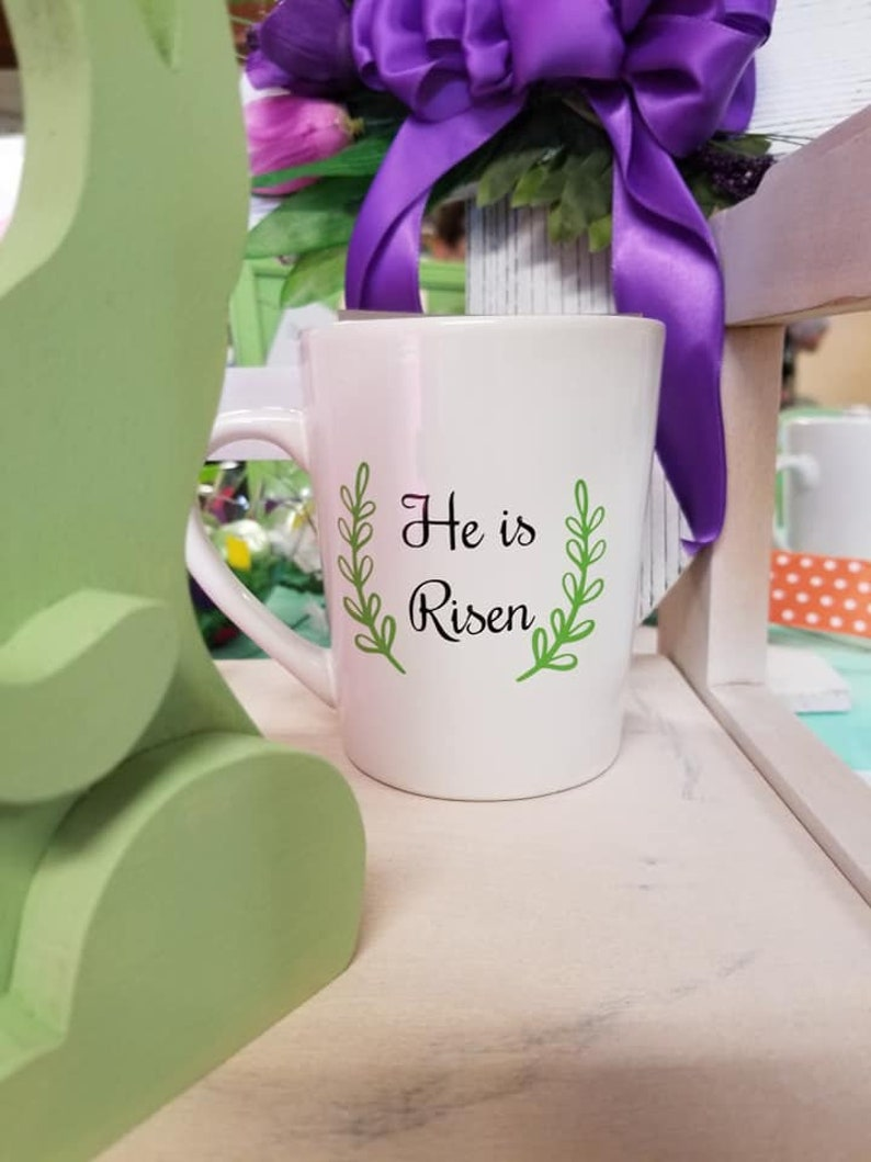 He Is Risen Mug  He Is Risen Easter Mug  Easter Coffee Mug  image 0