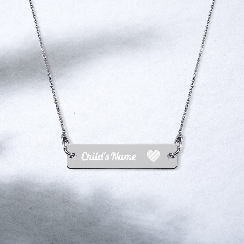 Personalized Engraved Bar Chain Necklace Mothers Day Black Rhodium coatin
