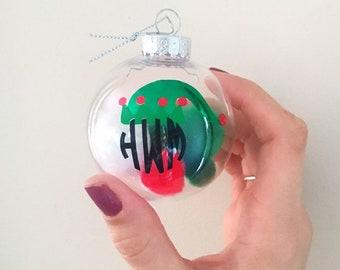 Monogrammed Elf Ornament, Personalized Elf Ornament, Fill Ornament, Elf Christmas Ball, Filled Christmas Ball, Personalized Christmas Ball