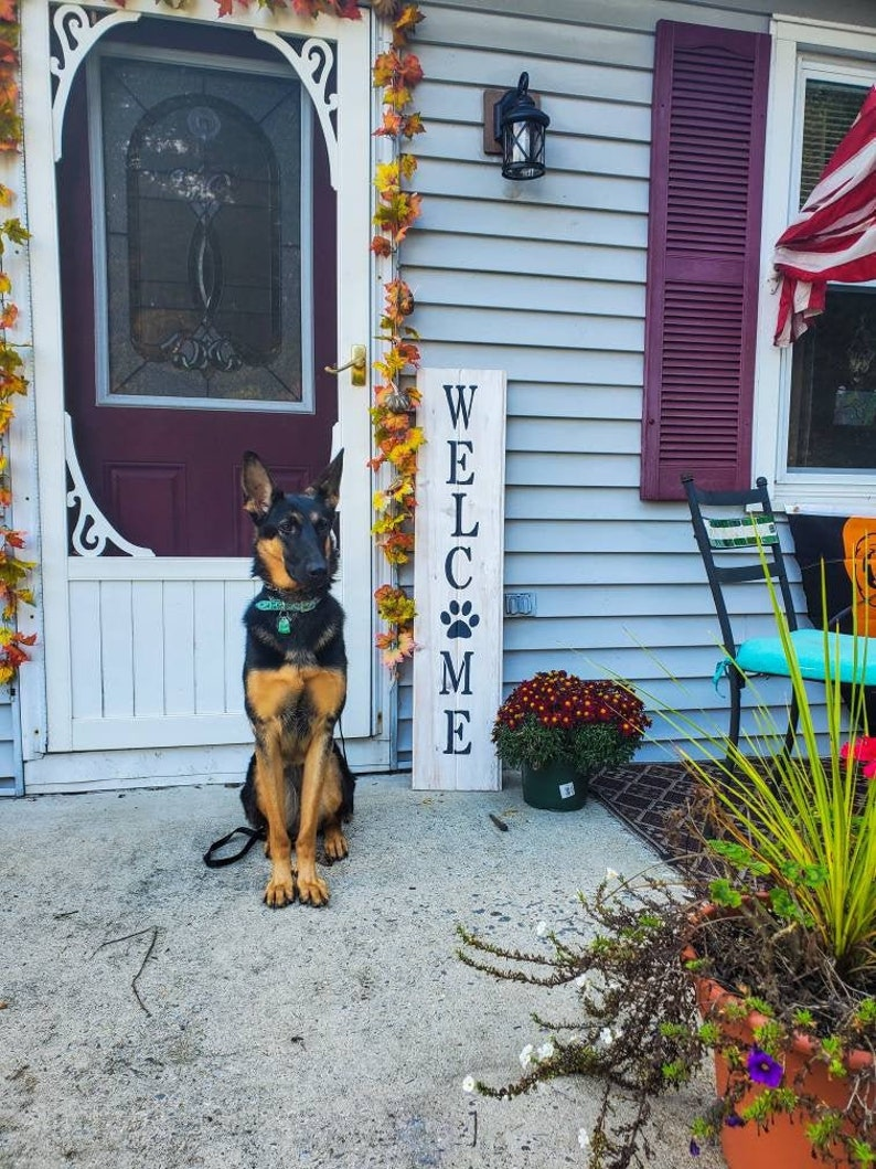 Welcome Paw Print Porch Sign Welcome Porch Sign Leaning image 0