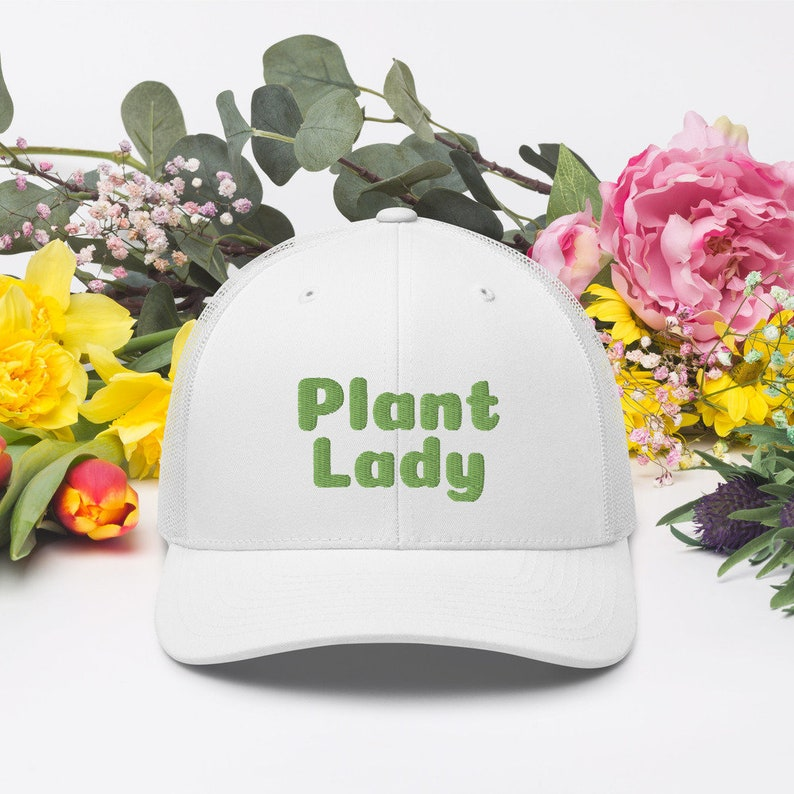 Green Embroidered Plant Lady Hat Embroidered Hat for Her image 0