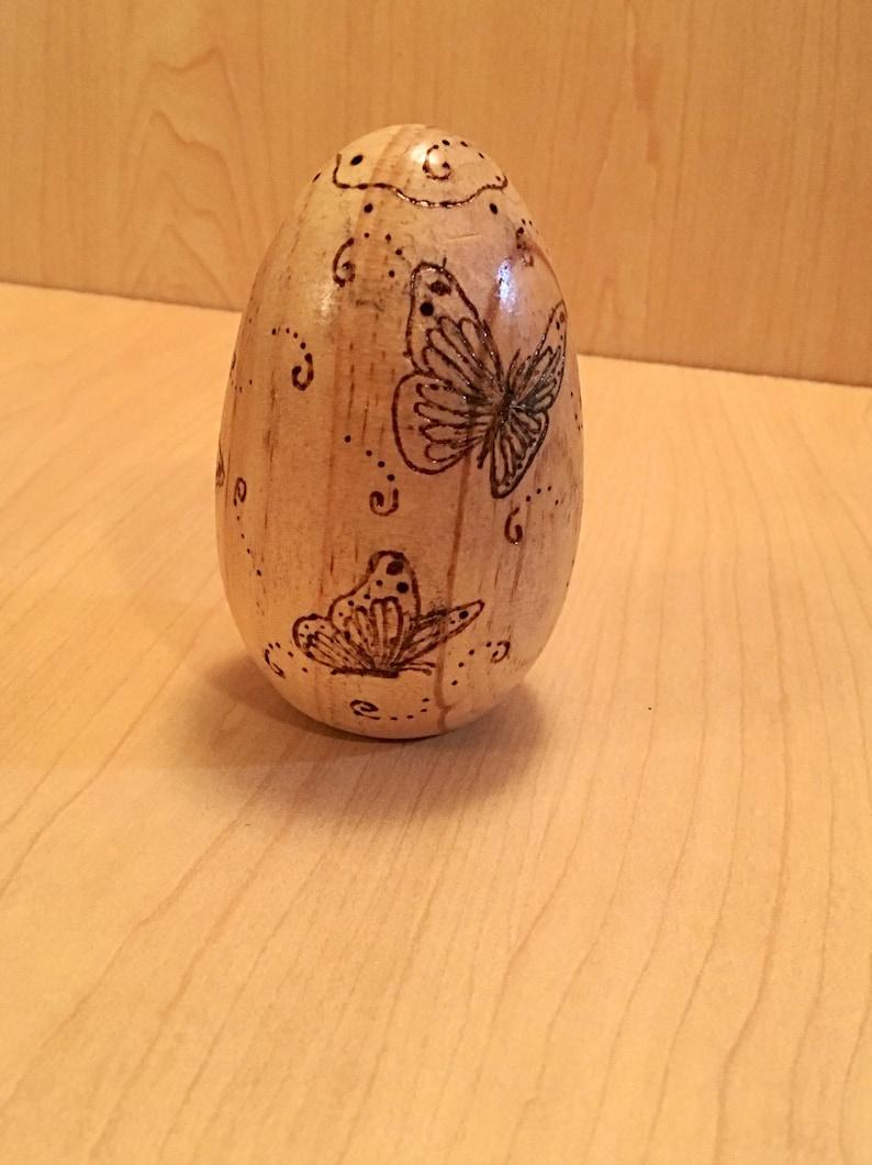 Wooden Wood burned Easter Egg Wooden Butterfly Easter Egg image 0