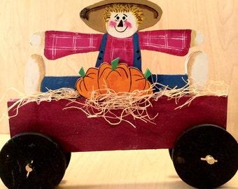 Fall Scarecrow Decoration, Primitive Scarecrow Decoration,  Scarecrow Centerpiece, Primitive Fall Decor, Fall Pumpkin Centerpiece, Hay Wagon