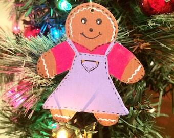 Gingerbread Girl Ornament - Gingerbread Ornament - Gingerbread Girl Decir - Handmade Wood Christmas Tree Ornament
