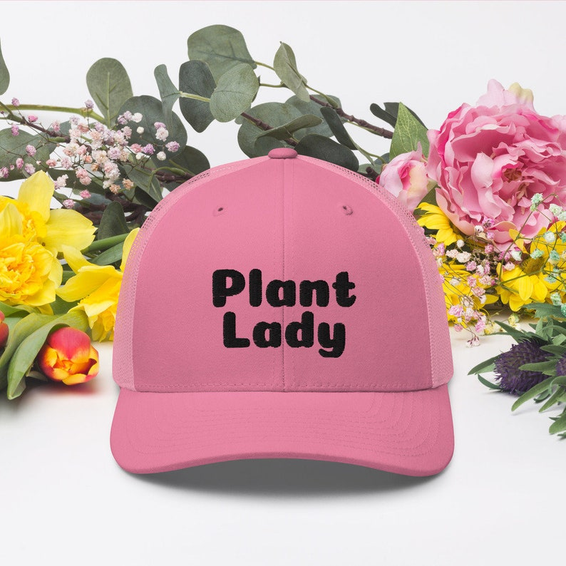 Plant Lady Embroidered Hat Plant Lady Gifts Plant Lady Pink image 0