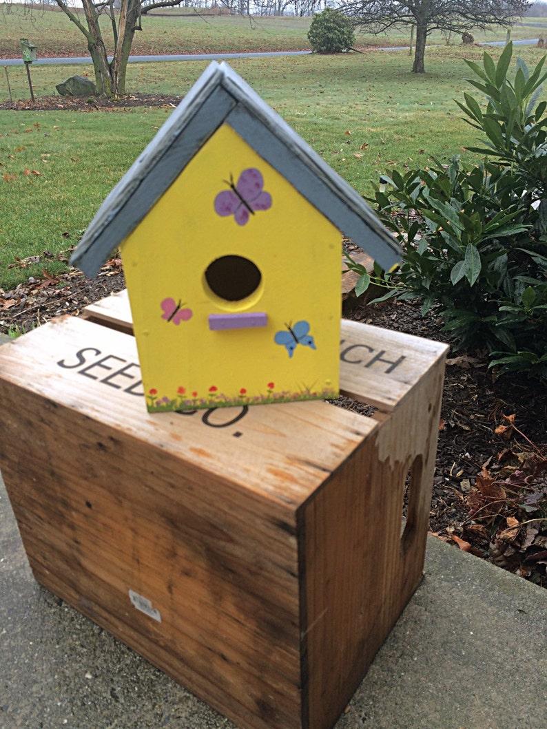 Butterfly birdhouse  Yellow Birdhouse  outdoor birdhouse  image 0