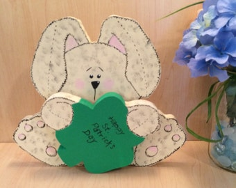 Happy St Patrick's Day - Irish Bunny - Saint Patrick's Day Decor - Irish Birthday Gift - Shamrock Sign - Saint Patrick's Day Sign