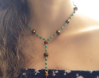 Bohemian Chic Turquoise Bronze and Gold Necklace - Handmade Beaded Necklace, Gifts for Her, Petite, Dainty, Boho Satellite Chain Link Choker