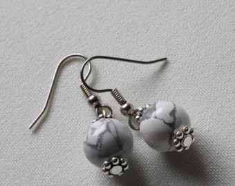 White Howlite Marble Effect Dangle and Drop Earrings - Modern Earrings, Gifts for her, Present for Girlfriend, Sister, Wife, Gifts under 20