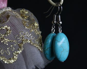Turquoise Earrings - Earrings, Beaded Jewellery, Dangle and Drop, Turquoise Beads, Xmas gift under 10, Christmas present for her, affordable