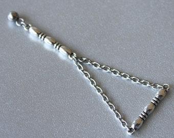 Stainless Steel Chain Triangle Earrings - Chain Statement Geometric Earrings, Kpop Fashion, Kpop Jewelry, BTS Inspired, Unisex Earrings