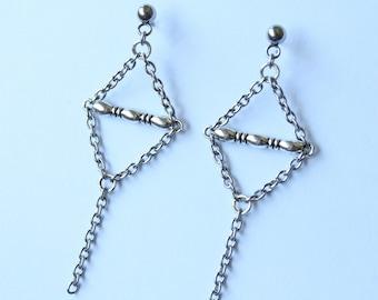 Stainless Steel Chain Geometric Earrings - Metal Punk Style Statement Earrings, Cool Metal Stud Chain Earrings, Kpop Fashion, BTS Inspired