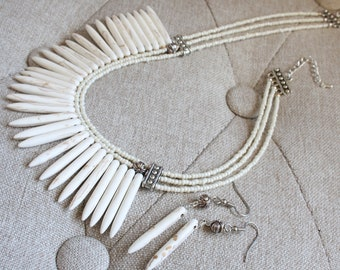 Tribal theme Howlite Spear Beaded Necklace Set - Ivory Bone Coloured Spike Beaded Statement Necklace, Gift for Her, Matching Spike Earrings